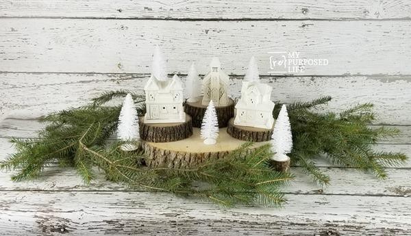 arranging a painted Christmas Village MyRepurposedLife