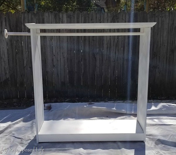 diy chalky paint primer on dress up armoire