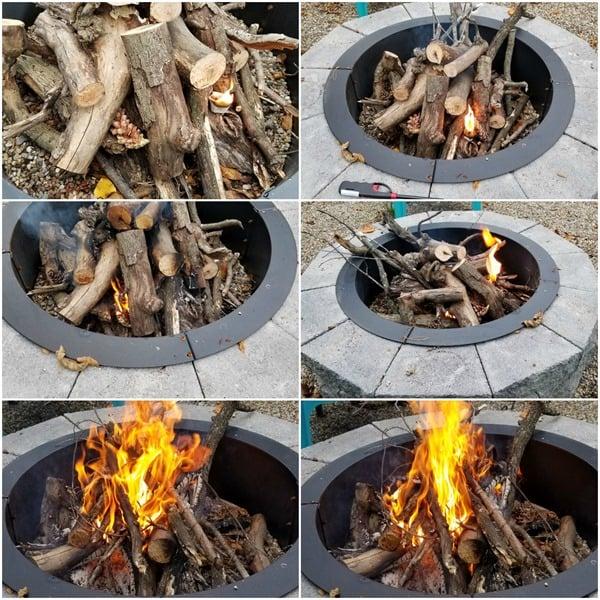 fire pit bonfire using fire starters