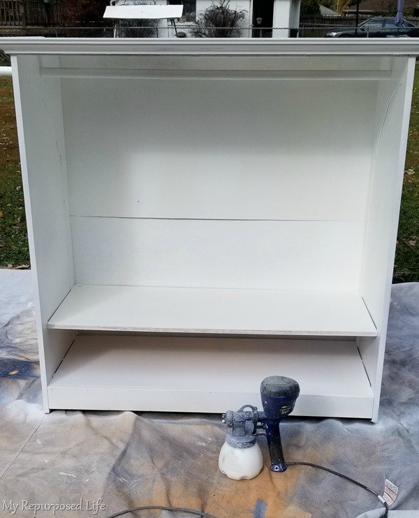 painting a kids dress up armoire with a finish max paint sprayer