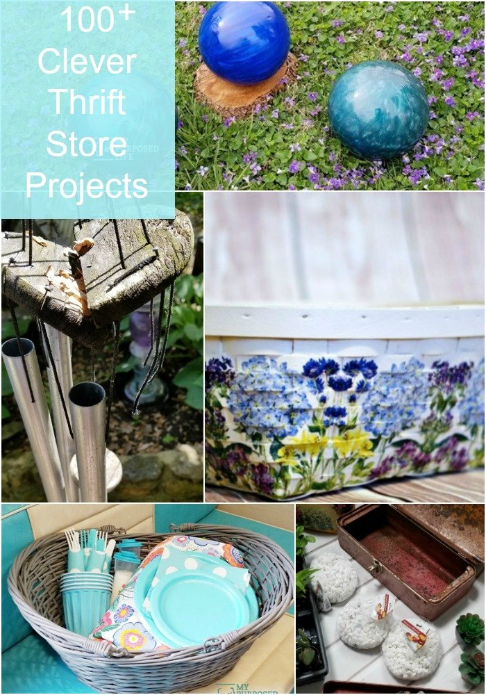 Over 100 clever thrift store projects to inspire you. Projects of all kinds, including crafts, furniture, outdoor projects and more. This collection has something fore everyone, all in one place! #MyRepurposedLife #thriftstore #decor #projects #diy #repurposed #furniture via @repurposedlife