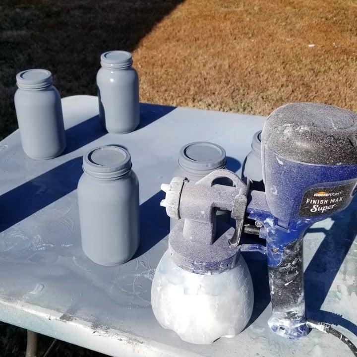 gray mason jars