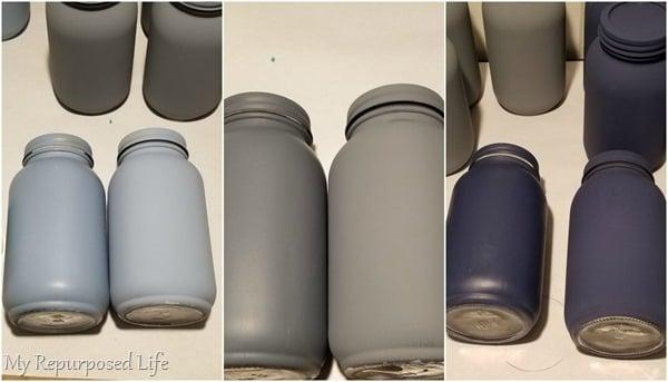 painted and waxed mason jars