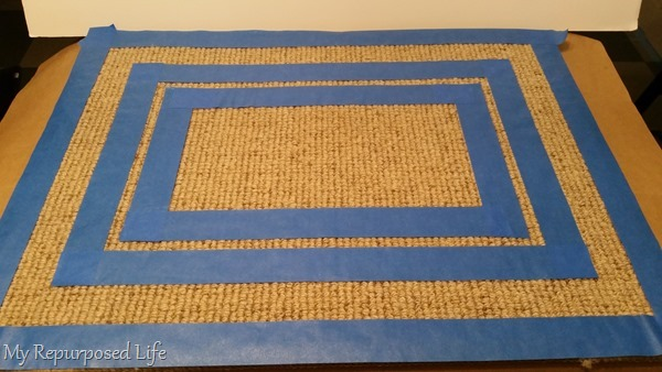 painter's tape border pattern for diy welcome mat