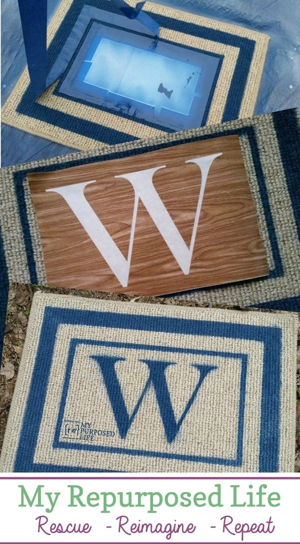 Step by step directions on how to change up an inexpensive rug or mat into a personalized welcome mat. This easy spray paint project can be completed in an afternoon. They make great gifts for friends, family, and neighbors. #myrepurposedlife #easy #spraypaint #diy #welcome #rug #mat #gifts via @repurposedlife