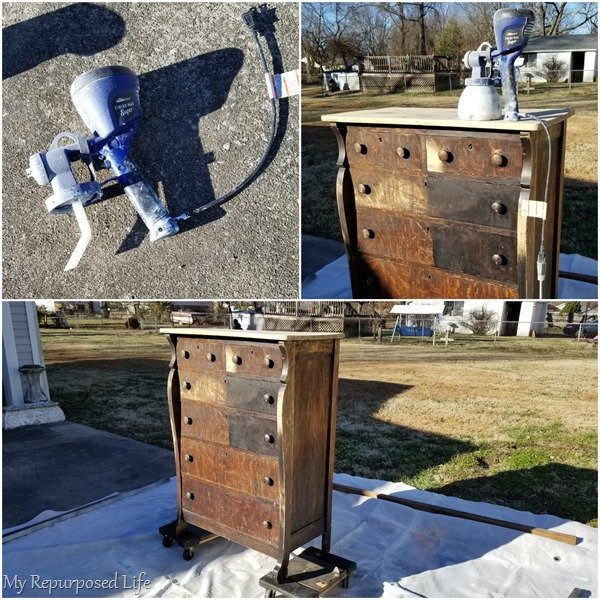 antique chest of drawers finish max paint sprayer
