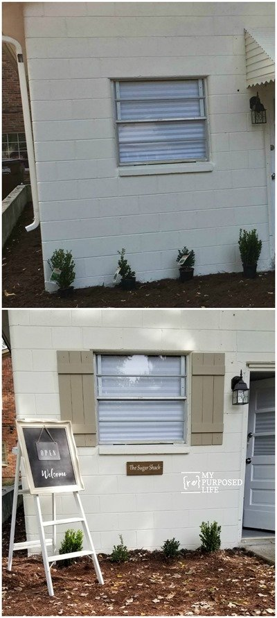 before and after farmhouse simple wooden shutters