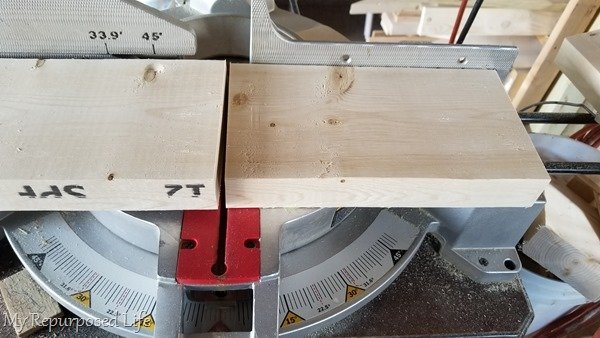 cut 2x6 on miter saw
