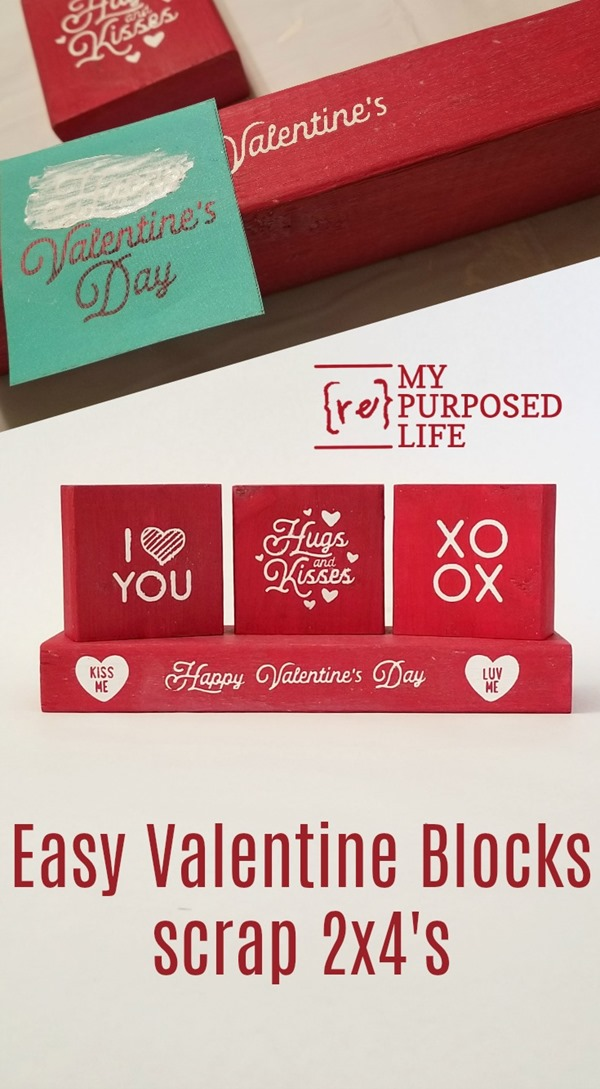 Using scrap 2x4's, paint and Chalk Couture products, this project doesn't get any easier! You could always use a stencil and or paint markers to make these easy Valentine Blocks for your holiday decor. #MyRepurposedLife #Valentines #scrapwood #easy #project #holiday #decor #crafts via @repurposedlife