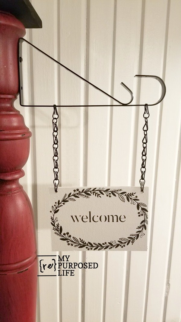 how to make a welcome porch post sign and bracket for hanging MyRepurposedLife