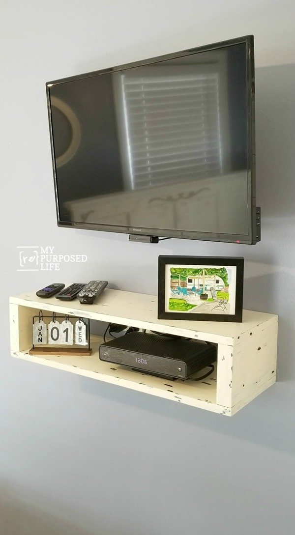 white rustic floating shelf for under tv MyRepurpsoedLife