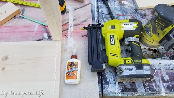 wood glue and nail gun secure boards