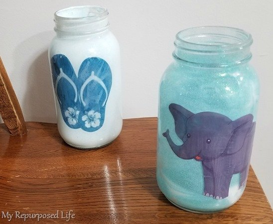 add image to mason jar luminaries