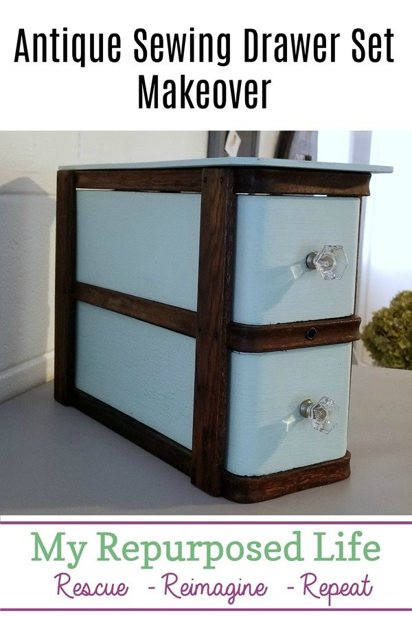 An old sewing drawer set was left over from an old project. Using two drawers and their frame I added a top, some paint and wipe-on poly! The amazing after even surprises me! #MyRepurposedLife #diy #sewingmachine #drawer #makeover  via @repurposedlife