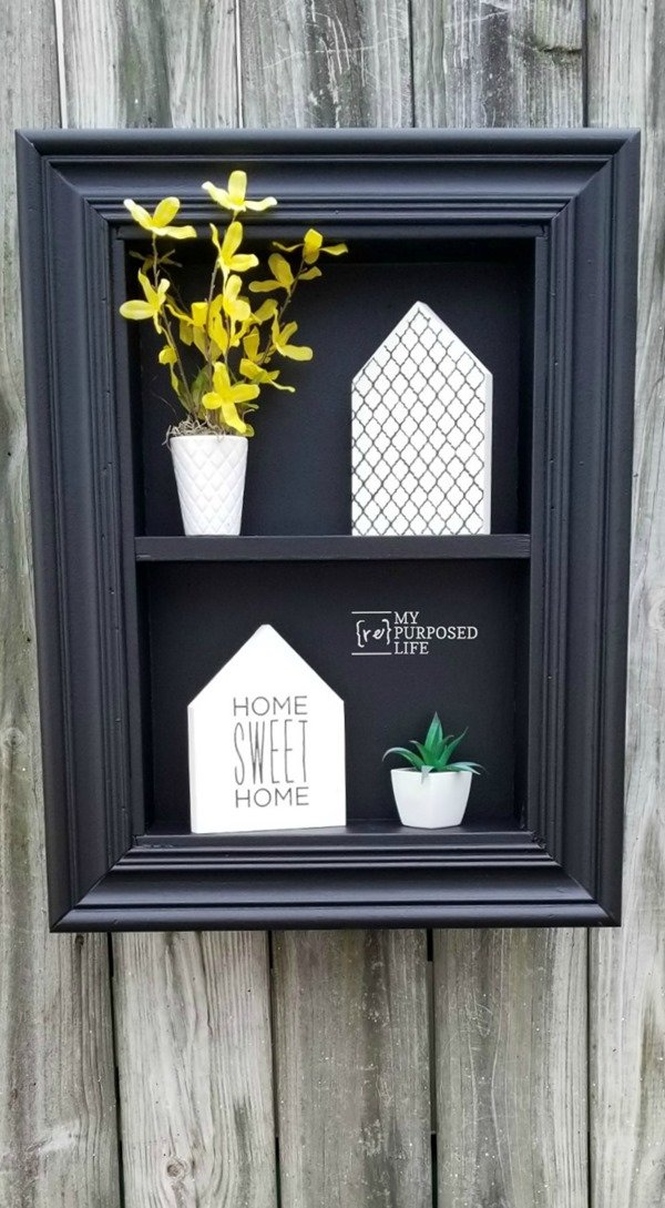 How to use an old drawer and a picture frame to make a shadow box. Step by step directions so you can make this project yourself. The black shadow box looks great with the white decor #MyRepurposedLife #repurposed #drawer #shadowbox #diy #project via @repurposedlife