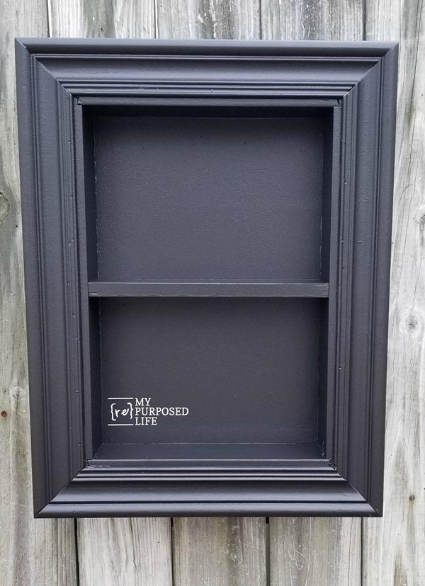 black shadow box made from a drawer MyRepurposedLife