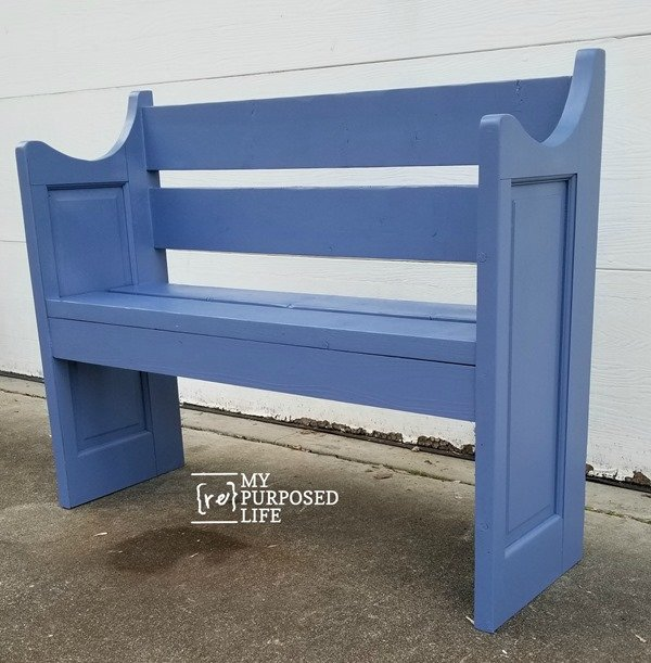 blue bench made from a door MyRepurposedLife