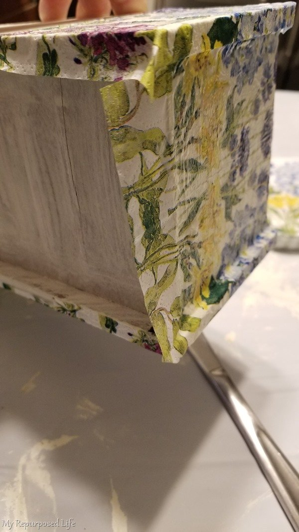 continue to mod podge sewing drawer