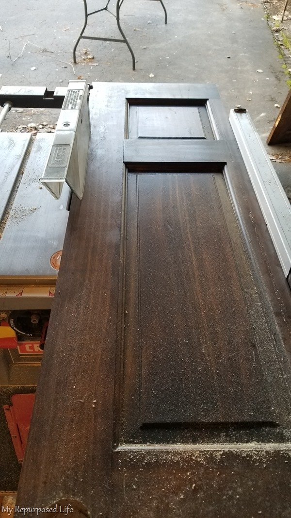 cut half door in half on table saw