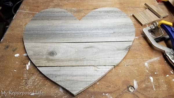 cut out reclaimed wooden heart