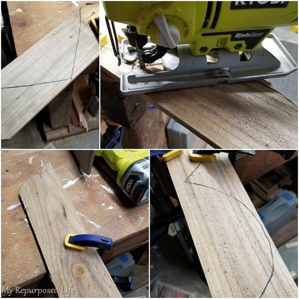 cut wooden heart piece by piece