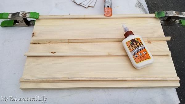 glue ledges on diy wooden letter board