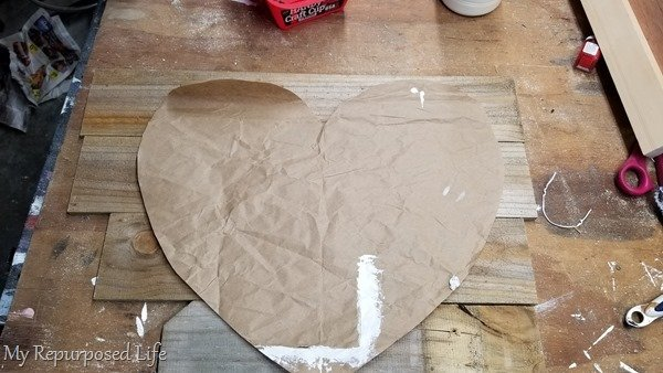 paper heart pattern for wooden heart project