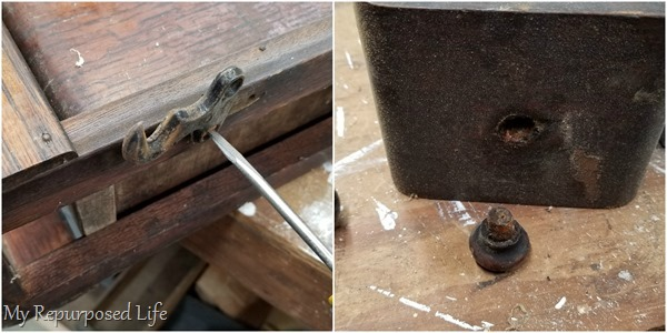 remove hardware from vintage sewing drawer