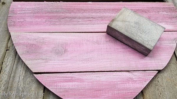sand pink wooden heart