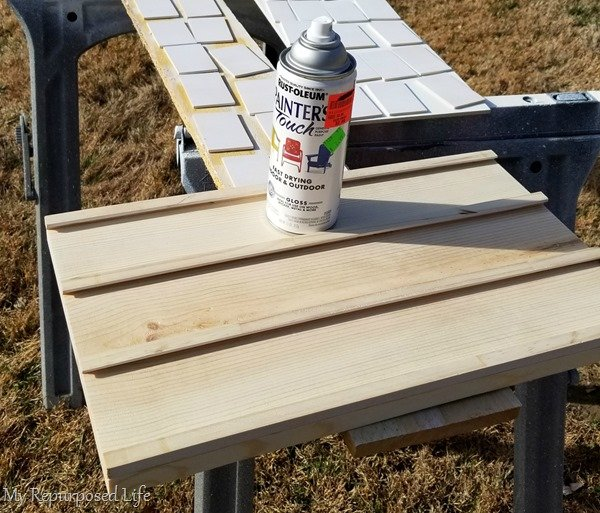 spray paint wooden letter board