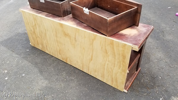 add back to children's storage bench made from coffee table