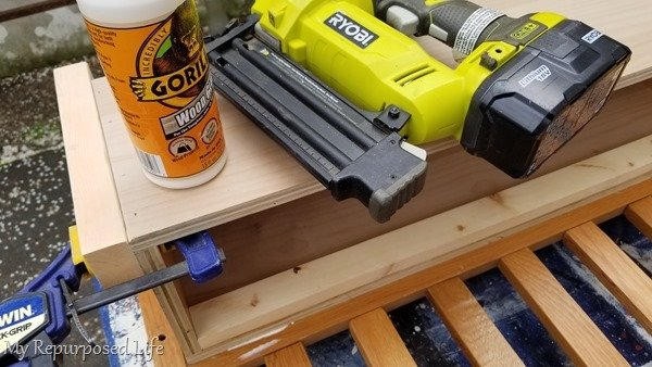 add front legs to toy box bench