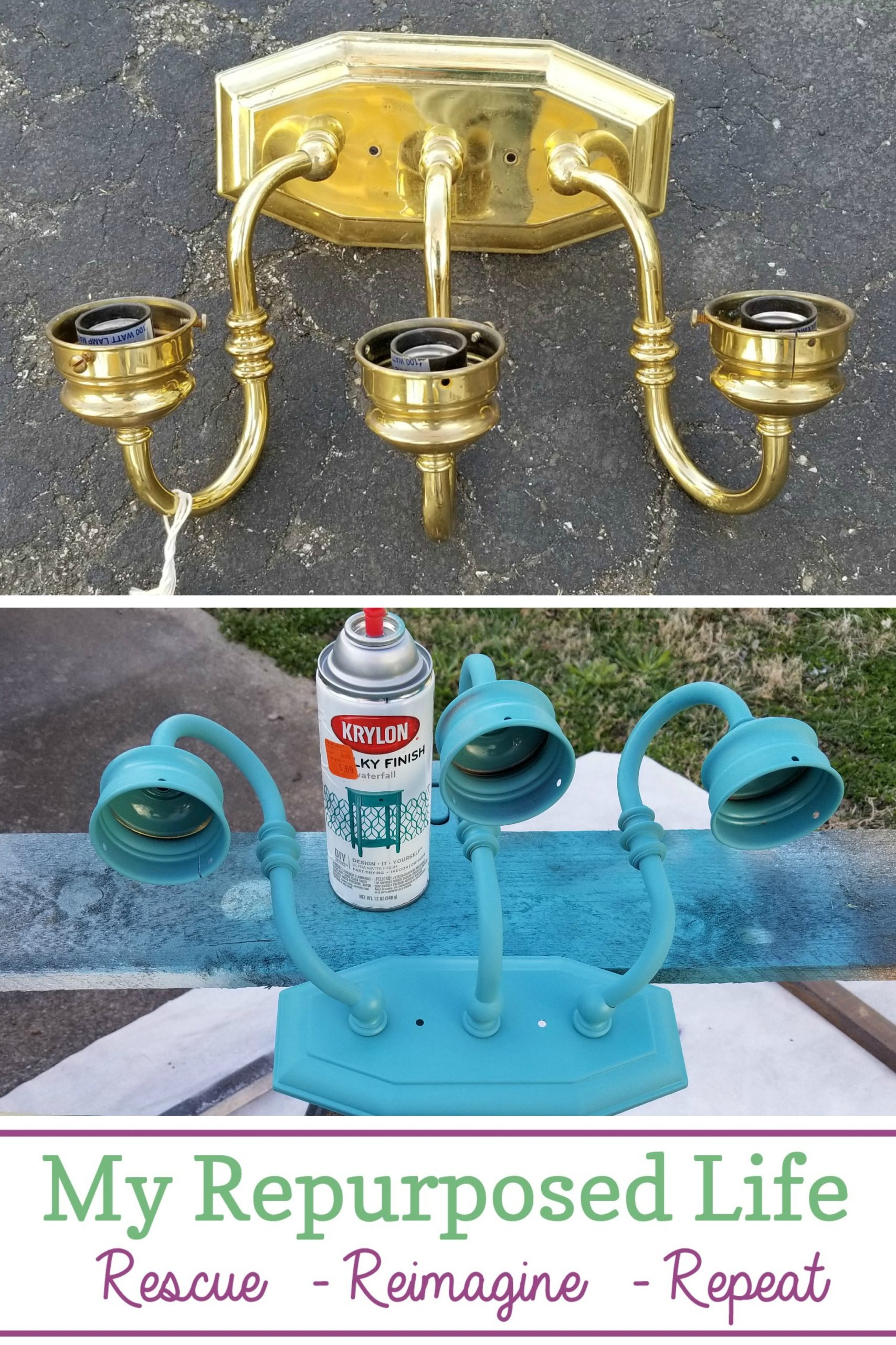 Thrifted brass vanity light gets a new look with spray paint. It even gets a new purpose as a solar light sconce for a backyard camper retreat. What a great way to add color and lighting. Choosing the right solar lights has proven to be a challenge, but I will win out in the end! #MyRepurposedLife #brass #light #repurposed #spraypaint #solar via @repurposedlife
