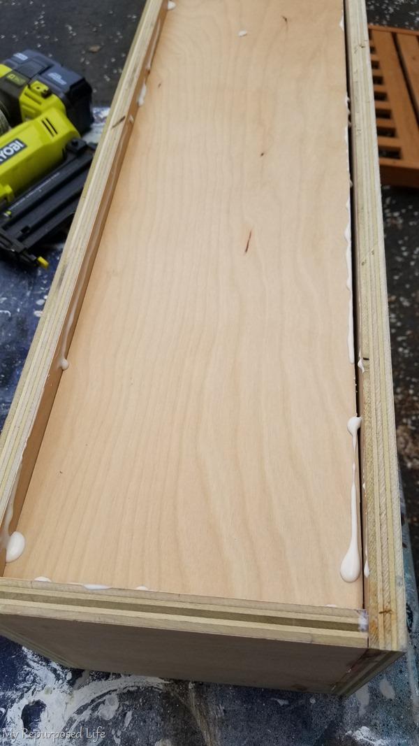 bottom of wooden box