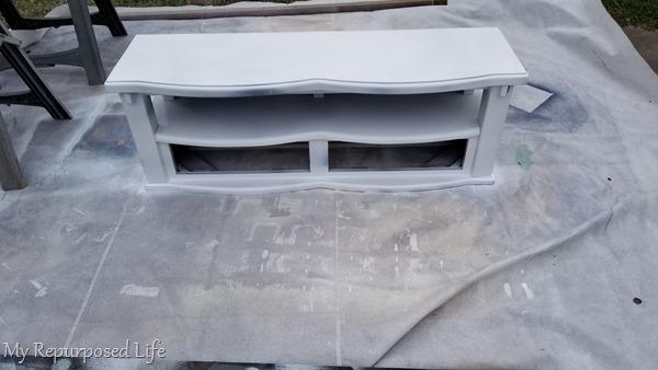 children's storage bench getting painted