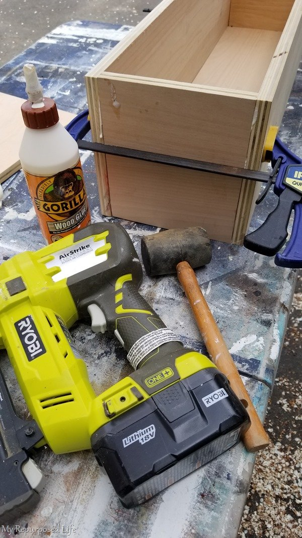 clamp, glue, nail simple box construction
