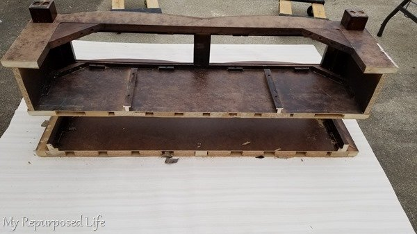 coffee table cut in half to make diy tv stand