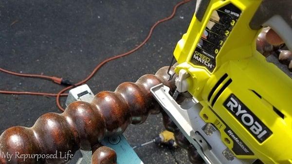 cut spool headboard with jigsaw