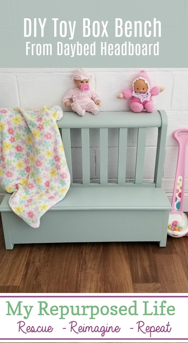 This sweet toy box bench was made from the end of a daybed. Because it sets so low, the only bench option was for a small child. If I make a bench, why not give it storage? Do you love the color? #MyRepurposedLife #repurposed #furniture #bed #headboard #kids #toybox #bench via @repurposedlife