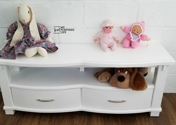 kids storage bench made from coffee table MyRepurposedLife