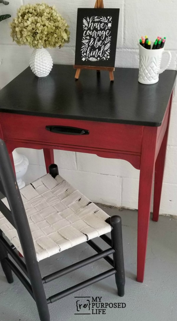 sewing cabinet into red and black writing desk by MyRepurposedLife
