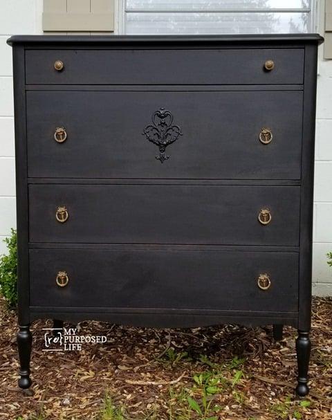 black chest of drawers makeover MyRepurposedLife
