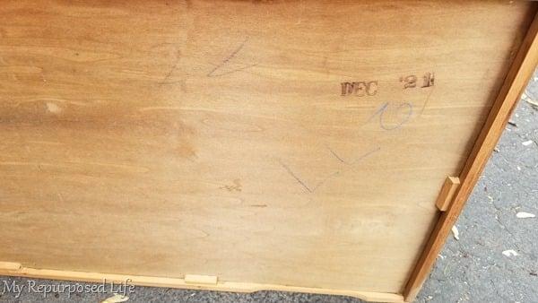 dated dresser drawer