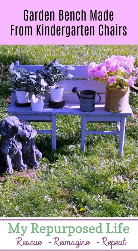 garden bench made from kindergarten chairs MyRepurposedLife