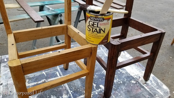 gel stain on wooden school chairs