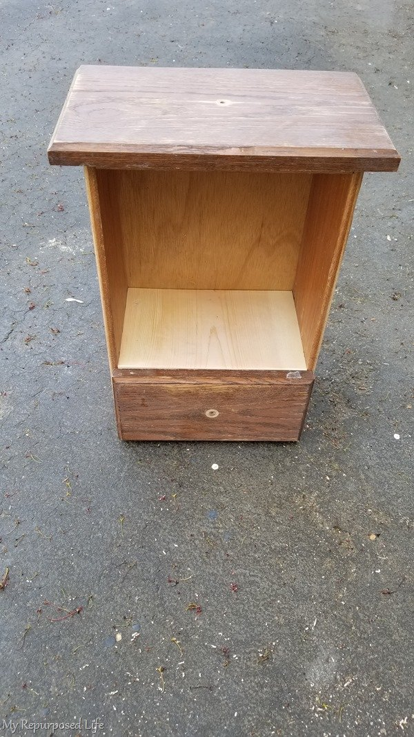 lightly sand repurposed drawer wall cabinet