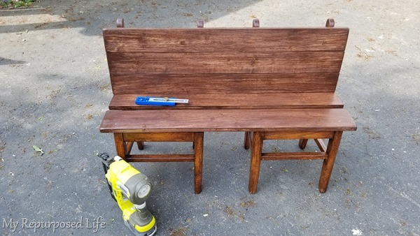 repurposed chair bench for children
