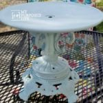 Repurposed lamp base pedestal plate