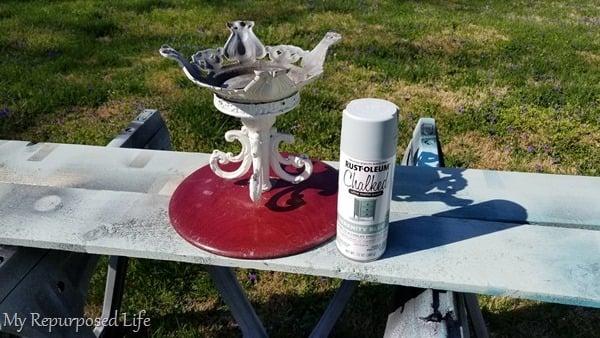 rustoleum chalk spray paint lamp base pedestal