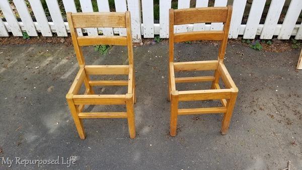 school kids chairs make a bench